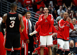 15.05.2011, UNITED CENTER, CHICAGO, USA, NBA, Chicago Bulls vs Miami Heat, im Bild Joakim Noah celebrates against Miami Heat in game 1 of the NBA Eastern Conference Championships at the United Center in Chicago, EXPA Pictures © 2011, PhotoCredit: EXPA/ Newspix/ KAMIL KRZACZYNSKI +++++ ATTENTION - FOR AUSTRIA/ AUT, SLOVENIA/ SLO, SERBIA/ SRB an CROATIA/ CRO, SWISS/ SUI and SWEDEN/ SWE CLIENT ONLY +++++