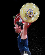 Nov 24, 2015; Houston, TX, USA; Rasoul Taghian Chadegani, from Iran competes in the men's 77kg group A competition during the International Weightlifting Federation World Championships at George R. Brown Convention Center. Mandatory Credit: Thomas B. Shea-USA TODAY Sports