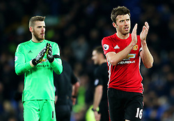 Michael Carrick of Manchester United and David De Gea applaud the fans at full time - Mandatory by-line: Matt McNulty/JMP - 04/12/2016 - FOOTBALL - Goodison Park - Liverpool, England - Everton v Manchester United - Premier League
