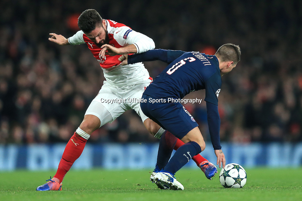 23 November 2016 - UEFA Champions League - (Group A) - Arsenal v Paris Saint Germain - Olivier Giroud of Arsenal and Marco Verratti Camara of Paris St Germain become entangled as they battle for the ball - Photo: Marc Atkins / Offside.