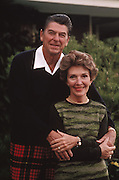 March 6, 2016 - NANCY REAGAN, Ronald Reagan's widow and First Lady from 1981-1989, has died at 94. The cause of death was congestive heart failure. Pictured: 1981-84, exact date unknown. RONALD WILSON REAGAN wears red plaid pants as he poses with his wife NANCY DAVIS REAGAN.<br /> ©Michael Evans/Exclusivepix Media