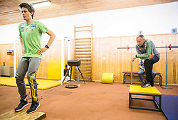 Peter Prevc and coach Matjaz Polak during fitness training of Slovenian Ski jumping National A team, on May 6, 2016, in Stadium Kranj, Slovenia.Photo by Vid Ponikvar / Sportida