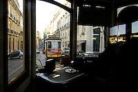 03 JAN 2006, LISBON/PORTUGAL:<br /> Waehrend einer Fahrt mit einer der fast historischen Strassenbahnen durch die alten Stadtteile der Stadt Lissabon<br /> During a ride with the old streetcars through the  historical districts of the city of Lisbon<br /> IMAGE: 20060103-01-00<br /> KEYWORDS: Lisboa, Reise, travel, Europa, europe, Strassenbahn, Stra&szlig;enbahn, Fahrer, driver, Nahverkehr, Bahn, streetcar, tram, tramline