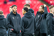 England defender Joe Gomez and England team mates on the pitch ahead of the UEFA European 2020 Qualifier match between England and Montenegro at Wembley Stadium, London, England on 14 November 2019.