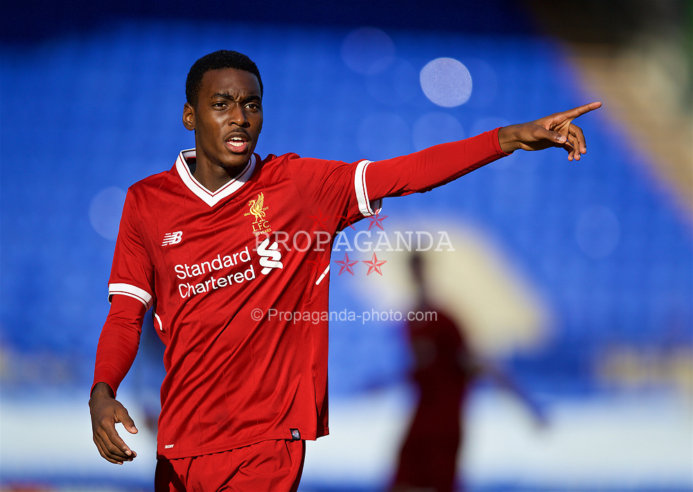 BIRKENHEAD, ENGLAND - Wednesday, November 1, 2017: Liverpool's Rafael Camacho during the UEFA Youth League Group E match between Liverpool and NK Maribor at Prenton Park. (Pic by David Rawcliffe/Propaganda)