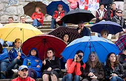 Spectators with umbrellas at tribune in finish area during finals at Rowing World Cup  on May 30, 2010, at Bled's lake in Zaka, Bled, Slovenia. (Photo by Vid Ponikvar / Sportida)