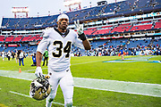 NASHVILLE, TN - DECEMBER 22:  Justin Hardee Sr. #34 of the New Orleans Saints on his way off the field after a game against the Tennessee Titans at Nissan Stadium on December 22, 2019 in Nashville, Tennessee. The Saints defeated the Titans 38-28.  (Photo by Wesley Hitt/Getty Images) *** Local Caption *** Justin Hardee Sr.