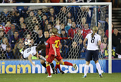 England's Karen Carney (Birmingham City) nearly scores - Photo mandatory by-line: Robin White/JMP - Tel: Mobile: 07966 386802 26/10/2013 - SPORT - FOOTBALL - The Den - Millwall - England Women v Wales Women - World Cup Qualifier - Group 6