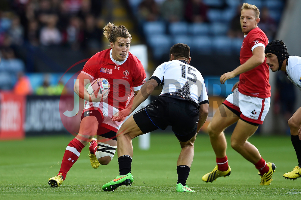 Jeff Hassler of Canada in possession - Mandatory byline: Patrick Khachfe/JMP - 07966 386802 - 06/10/2015 - RUGBY UNION - Leicester City Stadium - Leicester, England - Canada v Romania - Rugby World Cup 2015 Pool D.