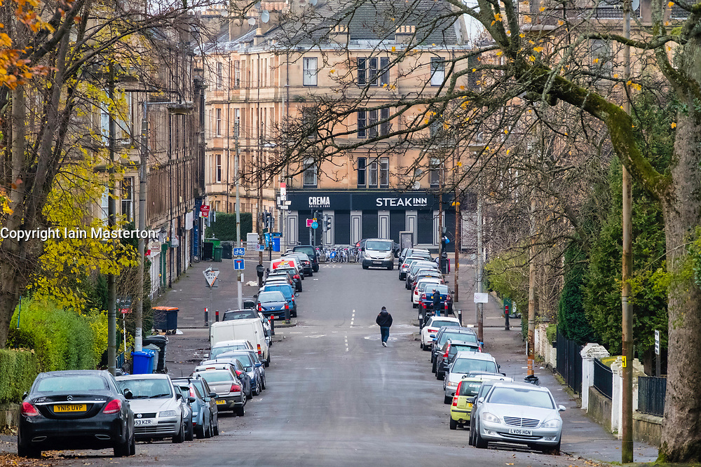 View along Albert Drive in Govanhill district of Glasgow, Scotland, United Kingdom