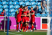 Leyton Orient forward Harry Cornick (#20) celebrates with team mates after scoring the second Leyton Orient goal (2-1) during the EFL Sky Bet League 2 match between Carlisle United and Leyton Orient at Brunton Park, Carlisle, England on 10 September 2016. Photo by Craig Doyle.