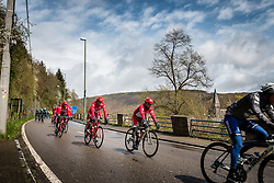Team Katusha in the peloton at La Roche-en-Ardenne with 178 km to go, the 102th edition of Liège-Bastogne-Liège race running 253 km from Liège to Liège, Belgium, 24 April 2016.<br /> Photo by Pim Nijland / PelotonPhotos.com<br /> <br /> All photos usage must carry mandatory copyright credit (© Peloton Photos | Pim Nijland)