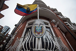 © Licensed to London News Pictures. 13/02/2018. London, UK. A general view of the Embassy of Ecuador in London following a court ruling on his arrest warrant of WikiLeaks founder Julian Assange. The Australian and Ecuadoran national skipped bail to enter the embassy in 2012 in order to avoid extradition to Sweden over allegations of sexual assault and rape, which he denies. Photo credit: Ben Cawthra/LNP