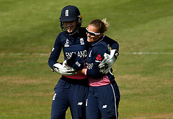 Sarah Taylor of England Women hugs Alex Hartley of England Women after her spell of bowling - Mandatory by-line: Robbie Stephenson/JMP - 09/07/2017 - CRICKET - Bristol County Ground - Bristol, United Kingdom - England v Australia - ICC Women's World Cup match 19