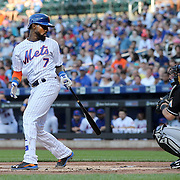 NEW YORK, NEW YORK - July 05:  Jose Reyes #7 of the New York Mets strikes out at his first at bat during the Miami Marlins Vs New York Mets regular season MLB game at Citi Field on July 05, 2016 in New York City. (Photo by Tim Clayton/Corbis via Getty Images)
