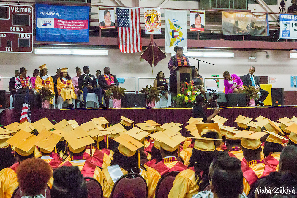 Dr. Sharon A. McCollum gives her remarks to the Class of 2015 in which she says...Ivanna Eudora Kean High School holds its 42nd Annual Commencement Exercise at Digna Marie Wheatley Gymnasium on 13 June 2015.  © Aisha-Zakiya Boyd
