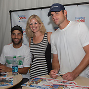 August 21, 2014, New Haven, CT:<br /> Andy Roddick and James Blake pose for a photograph at the Legends Party during the Men's Legends Event on day seven of the 2014 Connecticut Open at the Yale University Tennis Center in New Haven, Connecticut Thursday, August 21, 2014.<br /> (Photo by Billie Weiss/Connecticut Open)