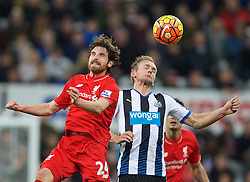 NEWCASTLE-UPON-TYNE, ENGLAND - Sunday, December 6, 2015: Liverpool's Joe Allen in action against Newcastle United's Siem De Jong during the Premier League match at St. James' Park. (Pic by David Rawcliffe/Propaganda)