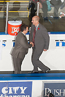 KELOWNA, CANADA - NOVEMBER 9:  Dan Lambert assistant coach and Ryan Huska head coach congratulate one another on the win against the Red Deer Rebels at the Kelowna Rockets on November 9, 2012 at Prospera Place in Kelowna, British Columbia, Canada (Photo by Marissa Baecker/Shoot the Breeze) *** Local Caption ***