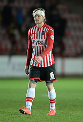 Exeter City's Chrisitain Riberio pictured with a bandage on his head. - Photo mandatory by-line: Alex James/JMP - Mobile: 07966 386802 - 10/01/2015 - SPORT - football - Exeter - St James Park - Exeter City v Northampton - Sky Bet League Two