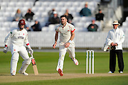 Lancashire's James Anderson bowling the last ball of the day after Lancashire enforced the follow on during the Specsavers County Champ Div 1 match between Somerset County Cricket Club and Lancashire County Cricket Club at the County Ground, Taunton, United Kingdom on 3 May 2016. Photo by Graham Hunt.