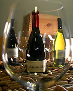 Sao Paulo_SP, Brasil...Detalhe dos vinhos da esquerda para direita: Porcupine Ridge Syrah 2003, Boekenhoustklook Syrah 2002 e o branco Porcupine Ridge Sauvignon Blanc 2004...Detail of wines, from left to right: Porcupine Ridge Syrah 2003, and 2002 Syrah Boekenhoustklook white Porcupine Ridge Sauvignon Blanc 2004...Foto: LEO DRUMOND / NITRO.