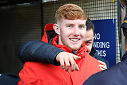 AFC Wimbledon attacker Egli Kaja (21) and AFC Wimbledon midfielder Alfie Eagan (28) prior to kick off during the The FA Cup 5th round match between AFC Wimbledon and Millwall at the Cherry Red Records Stadium, Kingston, England on 16 February 2019.