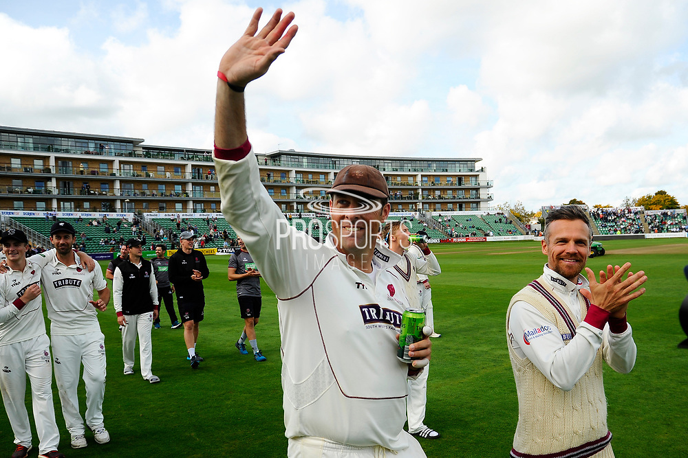Marcus Trescothick of Somerset and James Hildreth of Somerset on a lap of honour after beating Middlesex to secure survival in Division 1 of the Specsavers County Champ Div 1 match between Somerset County Cricket Club and Middlesex County Cricket Club at the Cooper Associates County Ground, Taunton, United Kingdom on 28 September 2017. Photo by Graham Hunt.