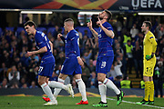 Chelsea FC forward Oliver Giroud (18) celebrates his goal during the Europa League quarter-final, leg 2 of 2 match between Chelsea and Slavia Prague at Stamford Bridge, London, England on 18 April 2019.