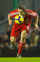 LIVERPOOL, ENGLAND - Wednesday, January 20, 2010: Liverpool's Sotirios Kyrgiakos in action against Tottenham Hotspur during the Premiership match at Anfield. (Photo by: David Rawcliffe/Propaganda)