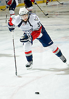 KELOWNA, CANADA, NOVEMBER 30: Nathan MacMaster #38 of the Tri City Americans warms up on the ice as the Tri City Americans visit the Kelowna Rockets  on November 30, 2011 at Prospera Place in Kelowna, British Columbia, Canada (Photo by Marissa Baecker/Shoot the Breeze) *** Local Caption *** Nathan MacMaster;
