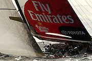 Emirates Team New Zealand, NZL82 shortly after the start of their day 2 match against Mascalzone Latino - Capitalia Team, ITA77. Louis Vuitton Act 6. Malmo, Sweden. 26/8/2005