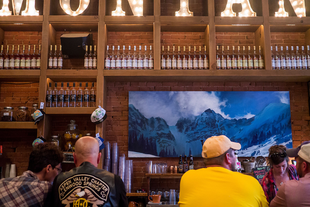 Locals and tourists mingle at the Montanya Rum Bar in Silveton, Colorado.