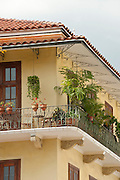 Balcony of colonial french influenced architecture house. Old Quarters, San Felipe, Panama City, Panama, Central America.