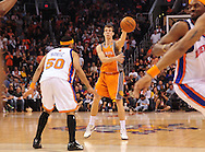 Mar. 26 2010; Phoenix, AZ, USA; Phoenix Suns guard Goran Dragic (2) makes a pass against New York Knicks guard Eddie House (50) in the second half at the US Airways Center.  The Suns defeated the Knicks 132-96.  Mandatory Credit: Jennifer Stewart-US PRESSWIRE.