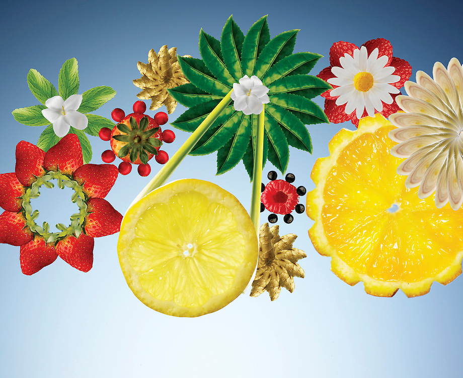 Wheels and cogs made from fruit and flowers on a light blue background. Ray Massey is an established, award winning, UK professional photographer, shooting creative advertising and editorial images from his stunning studio in a converted church in Camden Town, London NW1. Ray Massey specialises in drinks and liquids, still life and hands, product, gymnastics, special effects (sfx) and location photography. He is particularly known for dynamic high speed action shots of pours, bubbles, splashes and explosions in beers, champagnes, sodas, cocktails and beverages of all descriptions, as well as perfumes, paint, ink, water – even ice! Ray Massey works throughout the world with advertising agencies, designers, design groups, PR companies and directly with clients. He regularly manages the entire creative process, including post-production composition, manipulation and retouching, working with his team of retouchers to produce final images ready for publication.