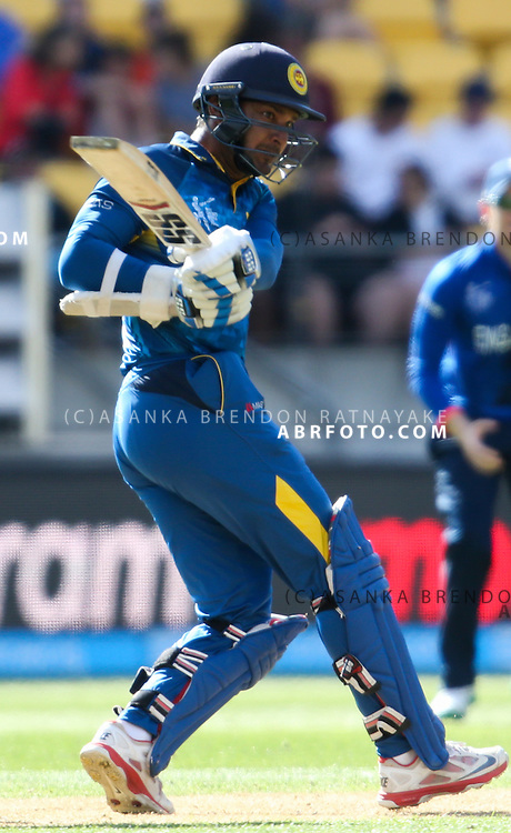 Kumar Sangakkara plays a pull shot for four runs during the 2015 ICC Cricket World Cup Pool A group match between England Vs Sri Lanka at the Wellington Regional Stadium, Wellington, New Zealand.