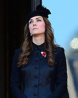 LONDON, UK: The Duchess of Cambridge attends the Remembrance Sunday service at the Cenotaph, Whitehall, London, UK, on the 10th November 2013<br /> <br /> PICTURE BY JAMES WHATLING