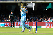 Jos Buttler of England plays and misses a bouncer from Lockie Ferguson of New Zealand during the ICC Cricket World Cup 2019 Final match between New Zealand and England at Lord's Cricket Ground, St John's Wood, United Kingdom on 14 July 2019.
