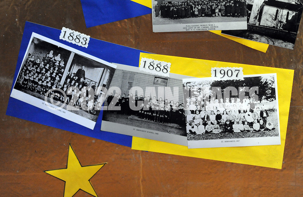 Old pictures from the school's 140 year history are on display during Our Lady of Mt. Carmel School's 140th Anniversary celebration Saturday, April 9, 2016 at the school in Doylestown, Pennsylvania.  (Photo by William Thomas Cain)