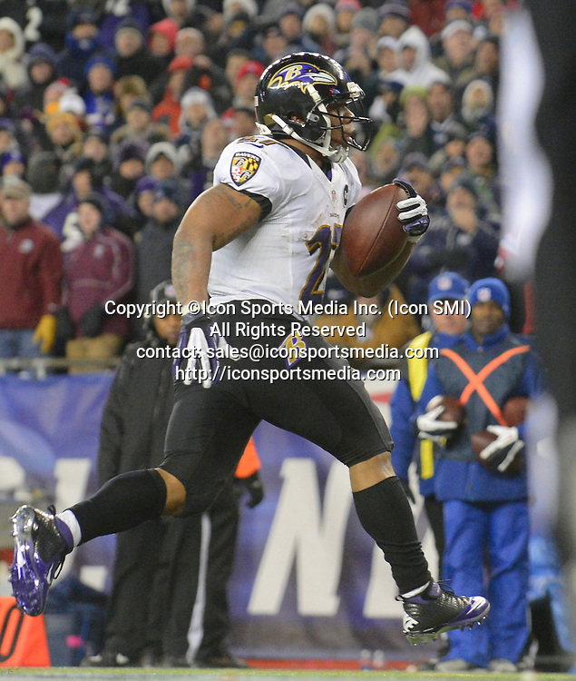 Jan. 20, 2013 - Foxboro, MA, USA - Baltimore Ravens running back Ray Rice finds the end zone on a two yard run during the second quarter at Gillette Stadium in Foxboro, Massachusetts, Sunday night, January 20, 2013