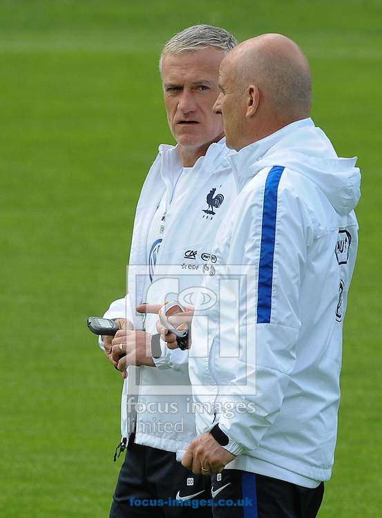 Head coach Didier Deschamps (left) and assistant Stephan Guy during France training and Press conference at Alpenstadion, Neustift, Austria<br /> Picture by EXPA Pictures/Focus Images Ltd 07814482222<br /> 01/06/2016<br /> ***UK &amp; IRELAND ONLY***<br /> EXPA-SPI-160601-4083.jpg