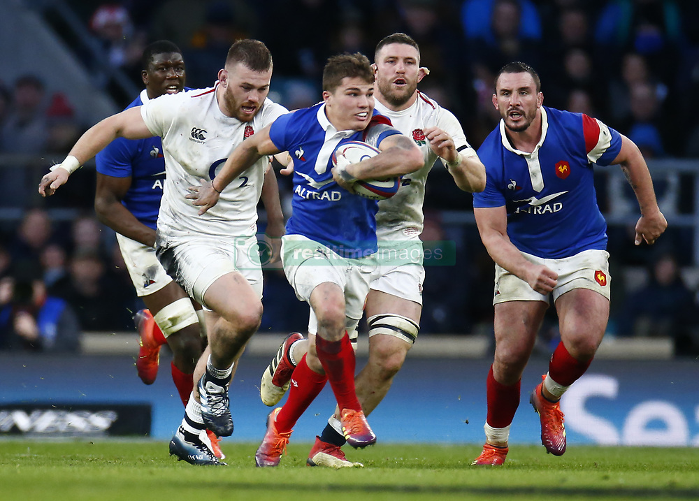 February 10, 2019 - London, England, United Kingdom - Antoine Dupont of France during the Guiness 6 Nations Rugby match between England and France at Twickenham  Stadium on February 10th, 2019 in Twickenham, London,  England. (Credit Image: © Action Foto Sport/NurPhoto via ZUMA Press)