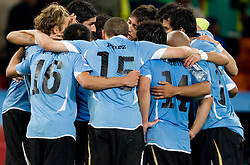 Players of Uruguay before penalty shots  at 2010 FIFA World Cup South Africa Quarter Finals football match between Uruguay and Ghana on July 02, 2010 at Soccer City Stadium in Sowetto, suburb of Johannesburg. Uruguay defeated Ghana after penalty shots. (Photo by Vid Ponikvar / Sportida)