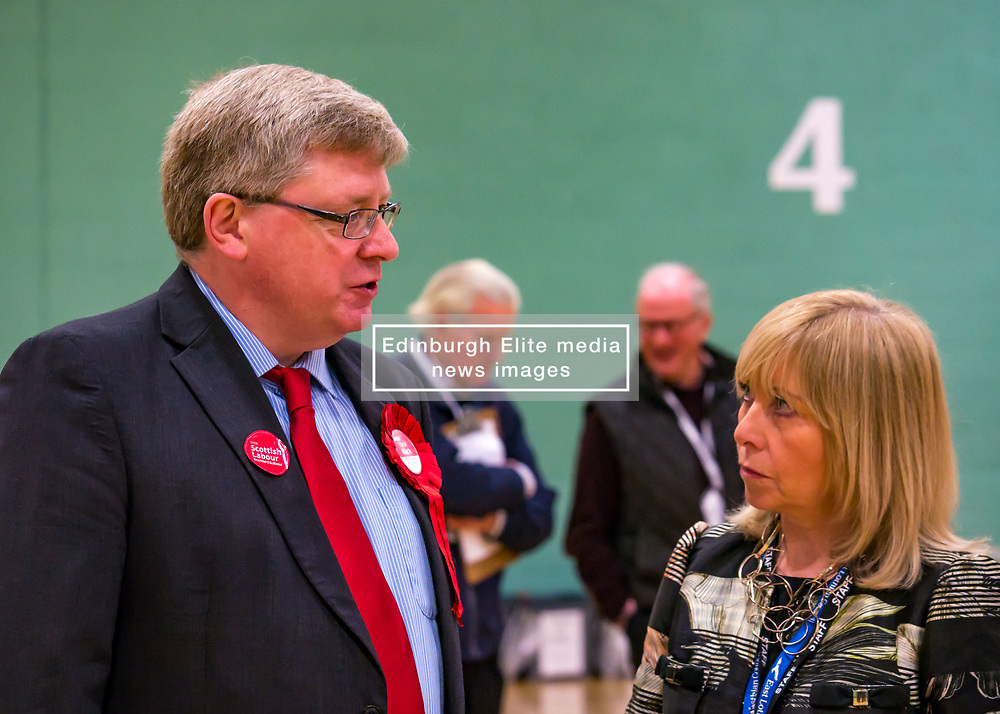 Haddington & Lammermuir by-election count. Haddington, East Lothian, Scotland, United Kingdom, 10 May 2019. Pictured:   Martin Whitfield, East Lothian MP and Returning Officer, Angela Leitch. The election takes place of one councillor in Ward 5 of East Lothian Council due to the resignation of Councillor Brian Small. The successful candidate represents this ward along with the three existing councillors. The by-election uses the Single Transferable Vote (STV) system in which voters can rank candidates in order of preference and can choose to vote for as many or as few candidates as they like. The election fields 5 candidates from Scottish National Party (SNP), Scottish Labour Party, Scottish Conservatives and Unionist Party, Scottish Liberal Democrats and UK Independence Party (UKIP).<br /> <br /> Sally Anderson | EdinburghElitemedia.co.uk