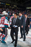 KELOWNA, CANADA - APRIL 30: Ethan Bear #25 of the Seattle Thunderbirds shakes hands with Michael Herringer #30 of the Kelowna Rockets on April 30, 2017 at Prospera Place in Kelowna, British Columbia, Canada.  (Photo by Marissa Baecker/Shoot the Breeze)  *** Local Caption ***