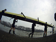 Putney. London.    Oxford go for an early morning training session, prior to the  2011 University Boat Race over the  Championship Course - Putney to Mortlake.  Saturday 26/03/2011   [Mandatory Credit; Peter Spurrier/Intersport-images] [Camera Hero Go PRO set on Stills]..OUBC. Bow Moritz HAFNER, 2 Ben MYERS, 3 Alec DENT, 4 Ben ELLISON, 5 Karl HUDSPITH, 6 Constantine LOULOUDIS, 7 George WHITTAKER, Stroke Simon HISLOP and Cox Sam WINTER-LEVY....