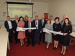 Pictured at the opening of the Leeson Enterprise Centre Westport, John Magee Mayo Local Enterprise Office, Cathal Hughes Hughes Group, Catherine McConnell Director of Services Mayo County Council, Senator Rose Conway Walsh, Michael Ring Minister for Rural and Community Development, Cllr Michael Holmes, Peter Hynes CEO Mayo County Council, Burga Fullam Enterprise Ireland, Cllr Christy Hyland, Ann Moore Mayo County Council, James O&rsquo; Doherty Westport Multi-Agency Enterprise Company and Stephanie Colombani (Westport Chamber of Commerce.<br />Pic Conor McKeown