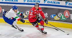12.04.2018, Tiroler Wasserkraft Arena, Innsbruck, AUT, Eishockey Testspiel, Österreich vs Italien, während dem Eishockey Testspiel Österreich vs Italien am Donnerstag, 12. April 2018 in Innsbruck, im Bild v.l.: Alex Trivellato (ITA) und Sam Antonitsch (AUT) // during the International Icehockey Friendly match between Austria and Italy at the Tiroler Wasserkraft Arena in Innsbruck, Austria on 2018/04/12. EXPA Pictures © 2018, PhotoCredit: EXPA/ Jakob Gruber