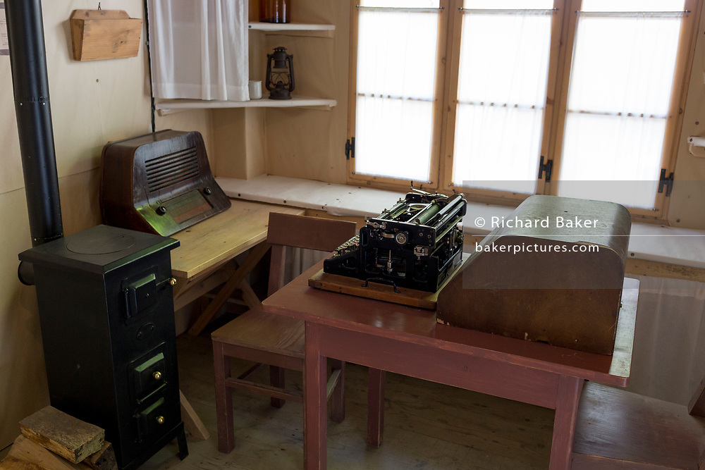Interior of the Physician's Room at the WW2-era Franja Partisan Hospital, on 20th June 2018, near Dolenji Novaki, Slovenia. From December 1943 until the end of the war as part of a broadly organized resistance movement against the Fascist and Nazi occupying forces, the hospital was set in a deep gorge in rural Slovenia where fighters were brought in from many areas to be treated in this secret location. 578 were treated here but the mortality rate were only 10% and the site was never discovered by German forces. Franja is in the UNESCO Tentative List of World Heritage sites.